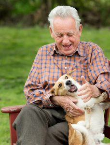 Old man playing with his dog on bench in garden